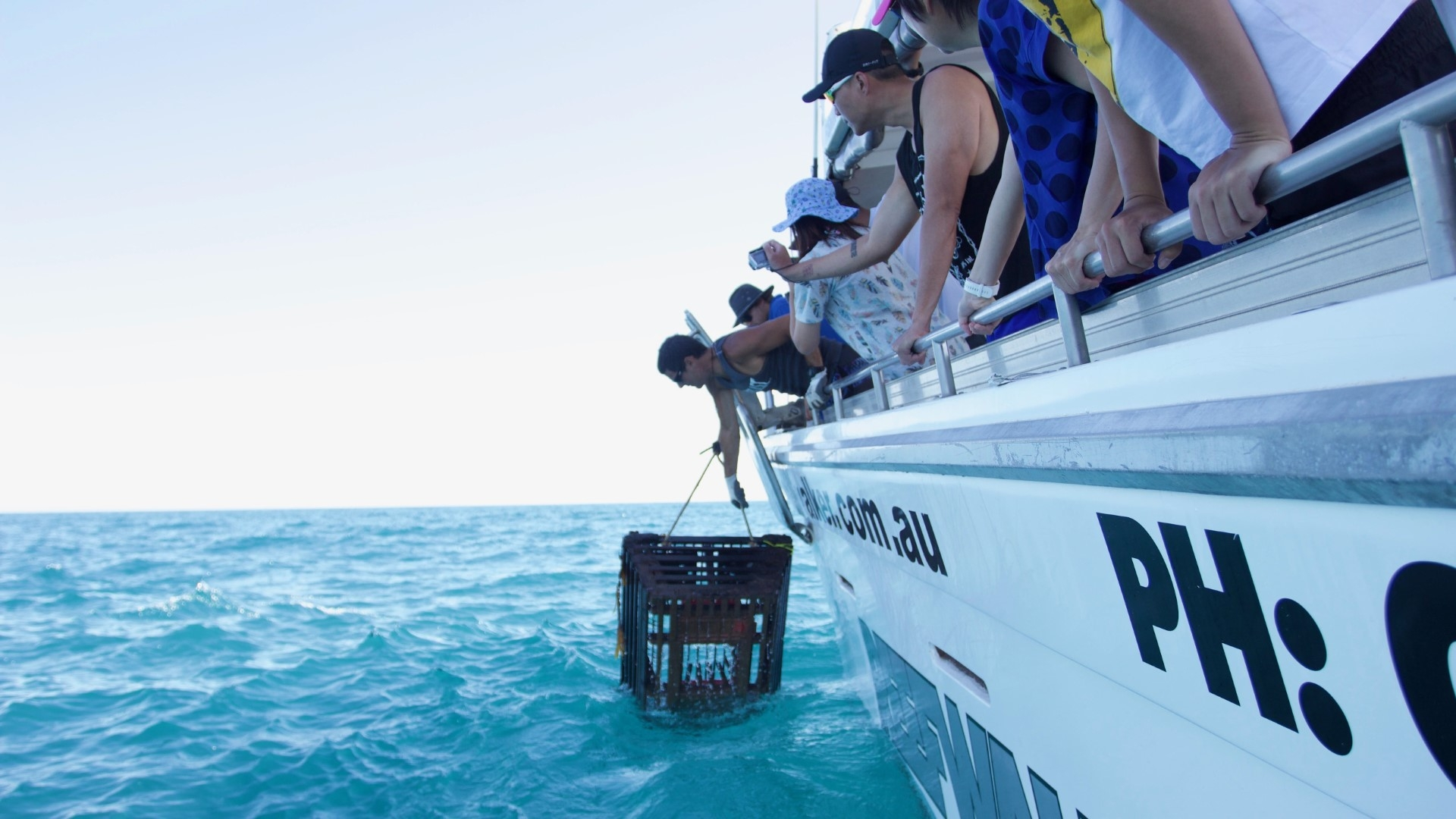 Pulling a Lobster pot in Kalbarri Western Australia